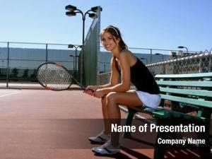 Player female tennis resting between