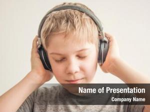 Boy stylish teen listening music