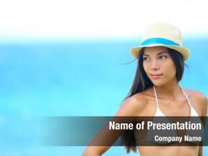 Portrait woman beach looking side