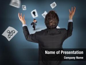 Tiny gesturing businessman businessman against