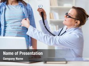 Examining female doctor female patient