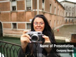 Woman travel photographer camera venice,