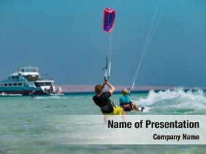 Red kitesurfing waves sea, egipt