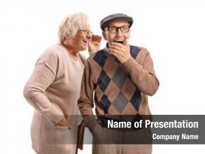 Whispering elderly woman elderly man