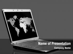 Map laptop world black