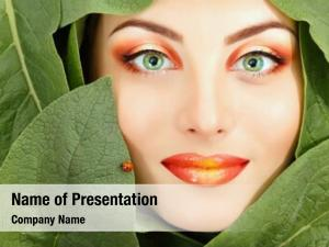 Face woman beauty green leaves