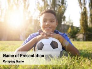 African american boy with soccer