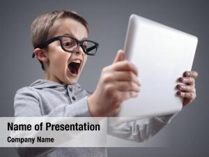 Digital tablet shocked and surprised boy