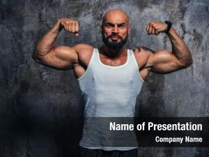 Bodybuilder strong man wall