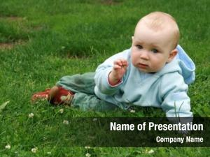 Boy little baby crawling grass