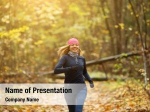 Jogging blonde woman morning autumn