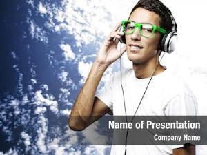 Man portrait young listening music