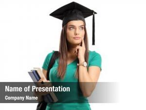 Student pensive female graduation hat