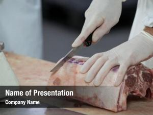 Cutting close up butcher meat meat