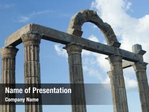 Ruins columns roman blue sky
