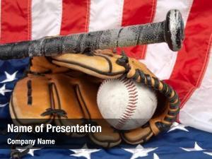 Baseball baseball glove, bat american