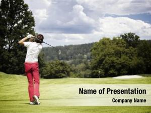 Player female golf teeing off golf