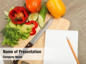 Vegetables, place cooking vegetables, notebook