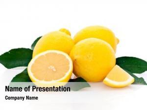 Ripe cross section lemons whole