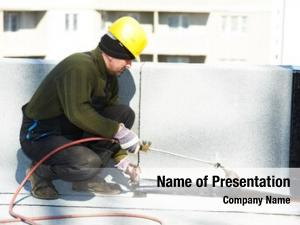 Covering flat roof works roofing