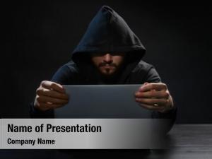 Laptop hacker using dark
