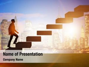 Promotion businessman career concept stairs