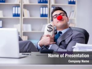 Office clown businessman money sack