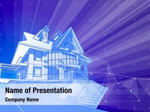Blue modern house surrounded digital