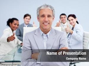 Leading happy businessman his happy