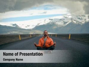 Man travel hitchhiker meditating road