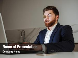 Young portrait funny businessman dressed