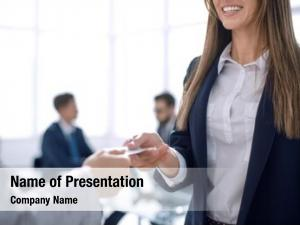 Giving business woman business card