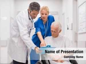 Doctor and nurse with senior
