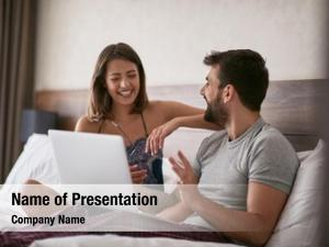 Couple young smiling discussion bed