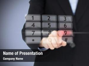 Number businesswoman pressing projected digital