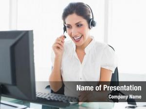 Center laughing call agent sitting