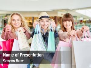 Shopping young women mall many