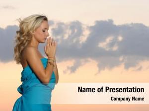 Sunset girl praying