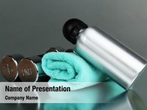 Towel sports bottle,dumbbells grey