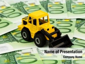 Euro excavator stands banknotes