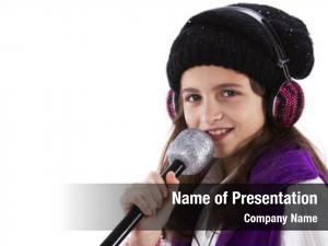 Singing female child mic headphones