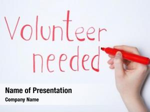 Volunteer needed woman writing text