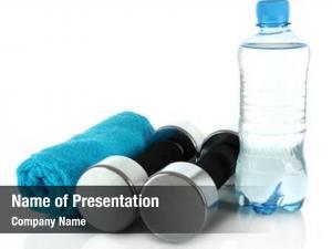 Bottle dumbbells towel water white