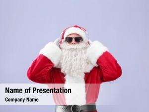 Music lover santa claus listening