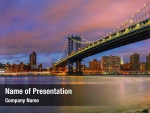 Manhattan manhattan bridge after sunset,