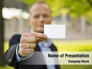 Presenting business man business card,