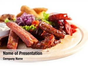 Plate smoked foods chicken sticks,