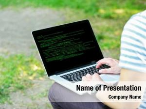 Laptop, man using writing programming