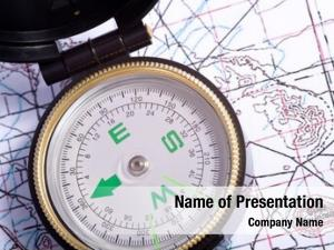 Top compass lying topographical map