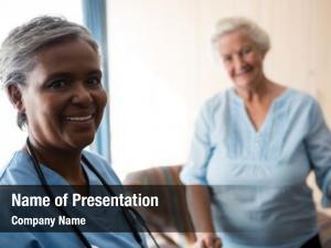 Portrait of nurse and senior